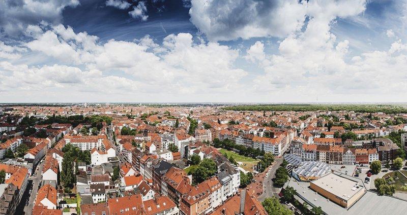 Blick auf Hannovers Oststadt, List und den Stadtwald Eilenriede