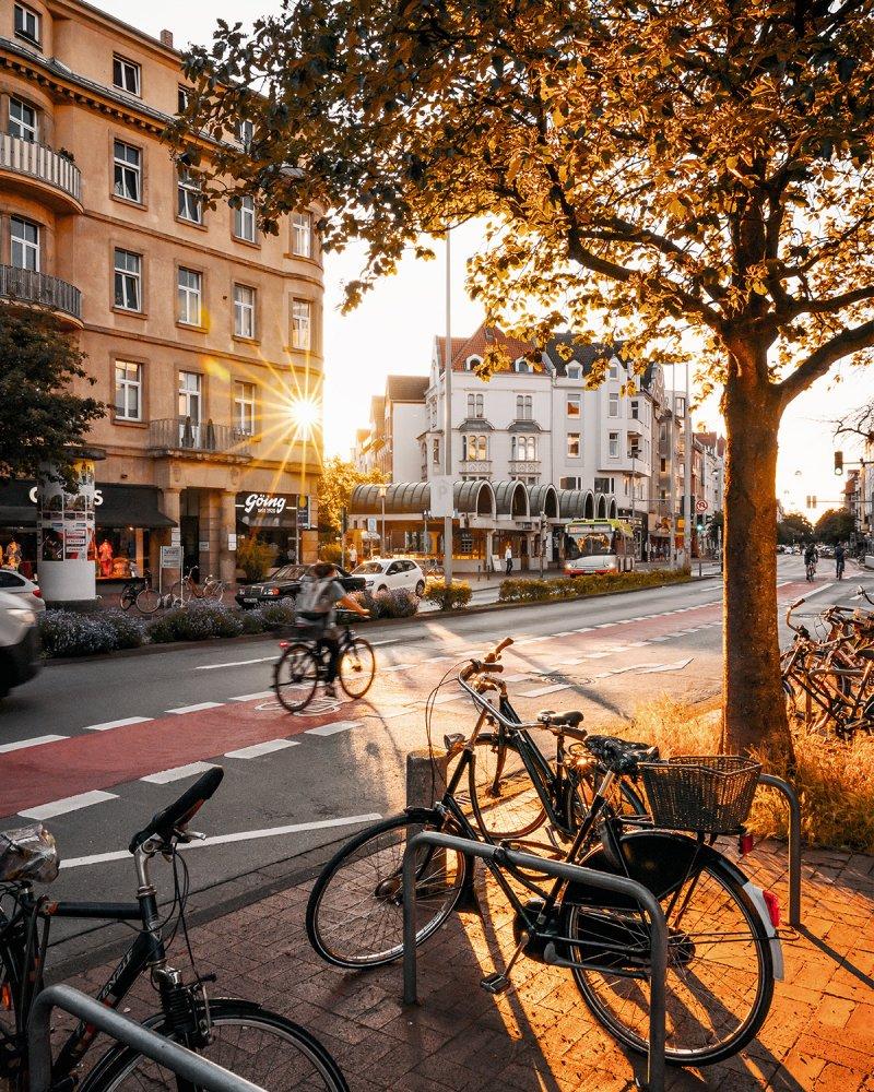 Lister Platz in Hannover zum Sonnenuntergang