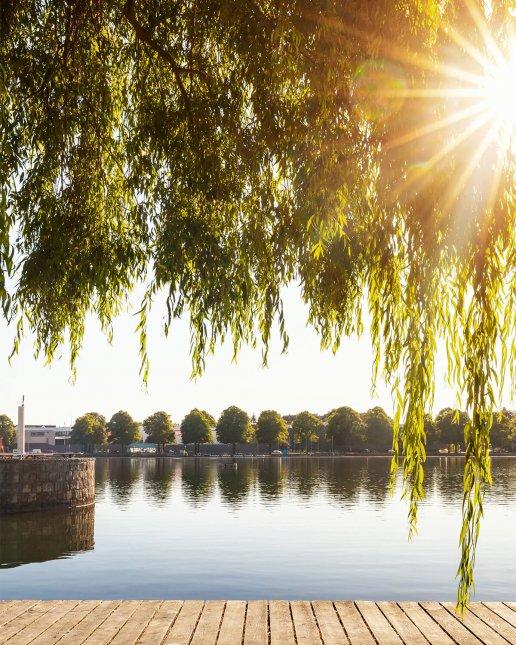 Maschsee in Hannover zum Sonnenaufgang