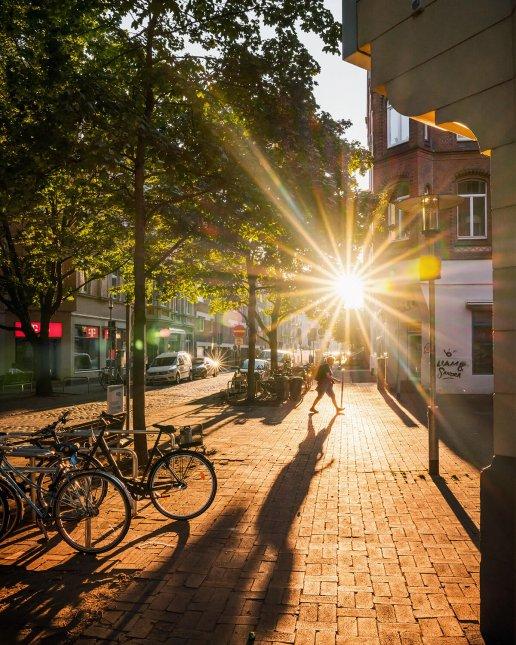 Sonnenuntergang an der Lister Meile in Hannover